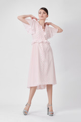 ROUND Pink Dress (Short Sleeved Silk-blend Midi Dress with Pink Dots)
