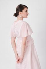 ROUND Pink Dress (Short Sleeved Silk-blend Midi Dress with Pink Dots)