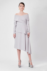 TRIANGLE Light Grey Dress (Cape-effect Asymmetric Midi Dress)