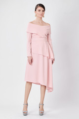 TRIANGLE Powder-pink Dress (Cape-effect Asymmetric Midi Dress)