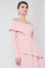 TRIANGLE Powder-pink Dress (Cape-effect Asymmetric Midi Dress)