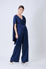RECTANGLE Straight-Leg Blue Jumpsuit with Cape-Effect