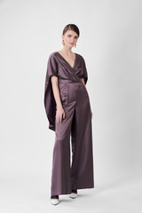 RECTANGLE Straight-Leg Plum Jumpsuit with Cape-Effect
