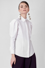 HEART Shirt (White Poplin Shirt with Heart Detailed Puffy Sleeves)