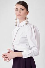 HEART Shirt (White Poplin Shirt with Heart Detailed Puffy Sleeves)