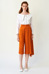 SWEPT AWAY Orange Cropped Pants with Side Pleat