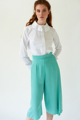SWEPT AWAY Mint Cropped Pants with Side Pleat