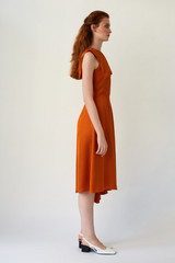 MIRAGE One-Shoulder Orange Midi Dress with Side Pleat