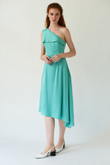 MIRAGE One-Shoulder Mint Midi Dress with Side Pleat