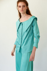 ZENITH Wide-Neck Mint Poplin Shirt