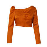 FLUTTER Orange Cropped Top with Asymmetric Neckline