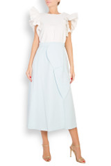 The Monarch Light-Blue Skirt (Midi Skirt with Front Panels)