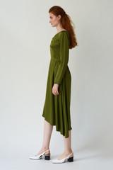FLUTTER Asymmetric Pesto Dress with Front Pleats