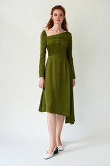 FLUTTER Asymmetric Pesto Dress with Front Pleats
