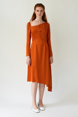 FLUTTER Asymmetric Orange Dress with Front Pleats