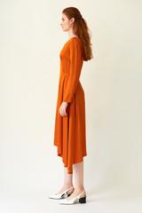 FLUTTER Asymmetric Orange Dress with Front Pleats