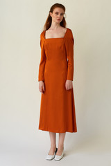 CELESTIAL Orange Midi Dress with Back Pleats