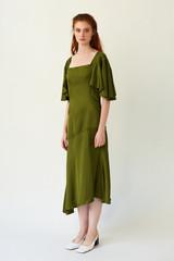 PHOENIX Pesto Midi Dress with Pleated Sleeves