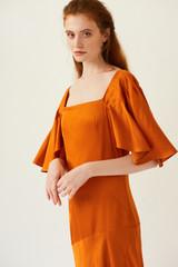 PHOENIX Orange Midi Dress with Pleated Sleeves