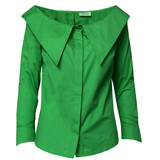 ZENITH Wide-Neck Intense Green Poplin Shirt