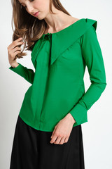 ZENITH Wide-Neck Intense Green Poplin Shirt