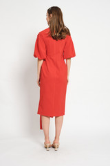 FAITH Coral Wrap Dress with Puffy Sleeves