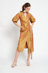FAITH Silk Wrap Dress with Puffy Sleeves