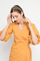 FAITH Orange Wrap Dress with Puffy Sleeves