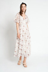 UTOPIA Silk-Blend Maxi Wrap Dress with Pleated Sleeves