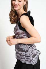 REVERIE Silk Organza One-Shoulder Top