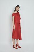 Tiger Lily Skirt (Asymmetric Silk A-line Midi Skirt)