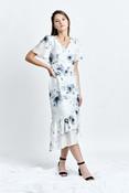 HORA dress (Flower-print Silk-blend Asymmetric Midi Dress)