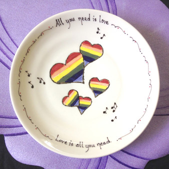 All you need is love ~ Love is all you need </br> With hand painted varying size rainbow hearts and music notes.
