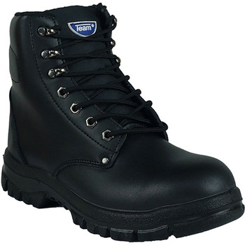High top zip up steel toe work boot black front