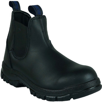 Classic pull on steel toe work boot black front