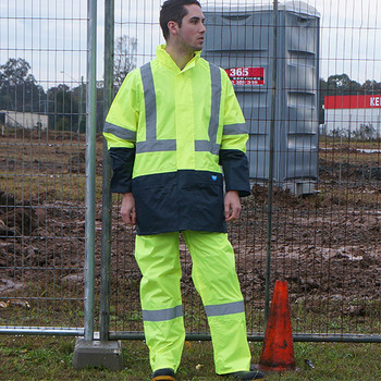 Reflective tuflite hi-vis rain jacket and pants set lime construction