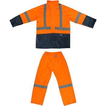 Reflective tuflite hi-vis rain jacket and pants set orange