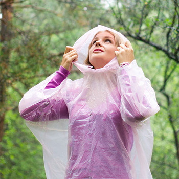 Emergency clear rain poncho woman