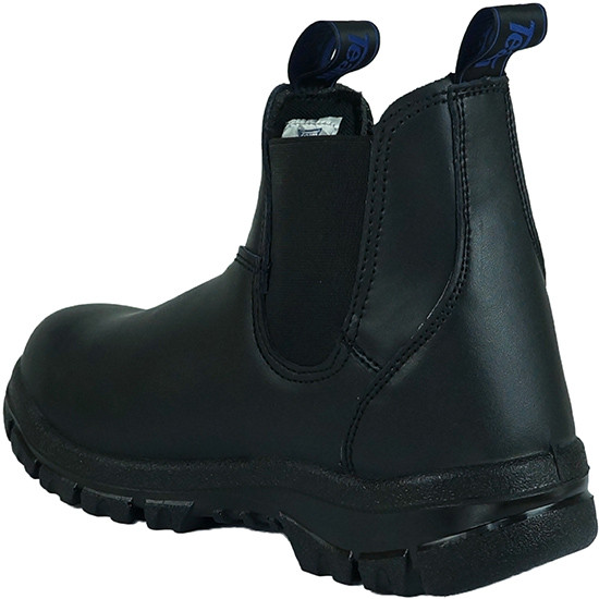 Classic pull on steel toe work boot black back