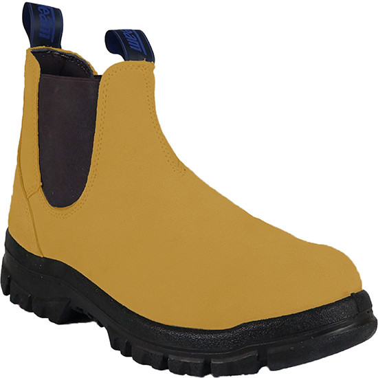 Classic pull on steel toe work boot suede front