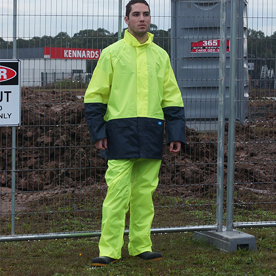 Tuflite hi-vis rain jacket and pants set lime construction