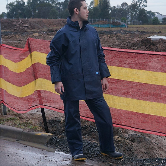 Tuflite hi-vis rain jacket and pants set navy construction