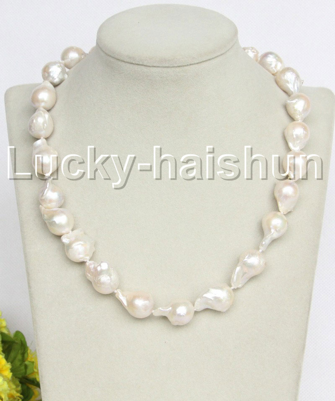 """Beautiful!Baroque 18/"""" 46mm Claw white Reborn keshi pearls necklace"""