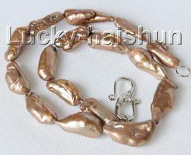 "16"" 27mm coffee Reborn keshi pearls necklace 18KGP clasp j10281"
