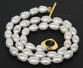 """AAA 17"""" 11mm rice white freshwater pearls necklace j10062"""
