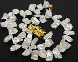 "natural 18"" 20mm baroque white Reborn keshi pearls necklace j10006"