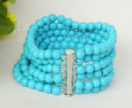 "8"" 6row 6mm round turquoise bead gemstone bracelet magnet clasp j10000"