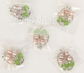 5 piece flower natural purple freshwater pearls necklace pendant 18KGP j9974