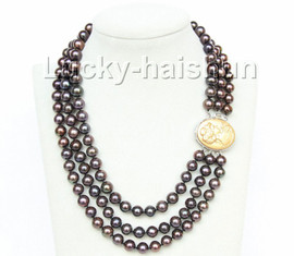 luster 3row 10mm round Multicolor black-brown pearls necklace looker clasp j9953