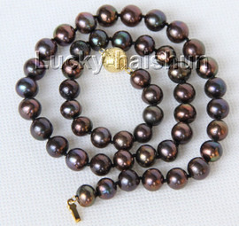 """luster 17"""" 10mm natural round Multicolor black brown pearls necklace j9949"""